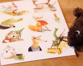 Greeting Card A6 illustrations of Christmas animal portraits