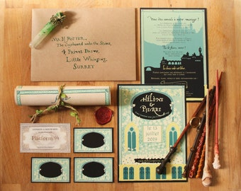 Wedding Invitation digital or printed Imaginarium, inspiration Harry Potter and Lord of the Rings