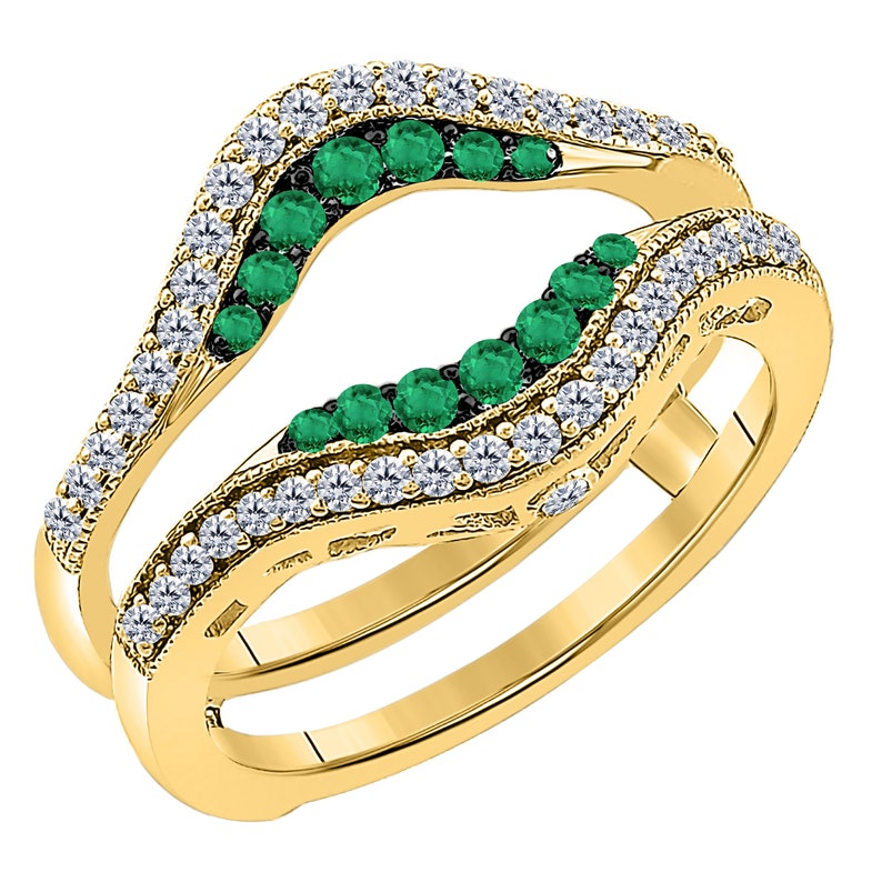 Solitaire Enhancer Vintage Milligrain White CZ Diamond Green Emerald Ring Guard Wrap Enhancer 925 Sterling Silver Enhancer Guard for Women/'s