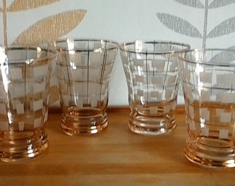 49a148aaf2f Set of 4 Vintage Drinking Glasses Tumblers 1950s