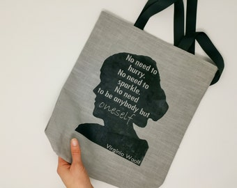 Linen tote bag with an empowerment quote from Virginia Woolf Responsible gift ecofriendly and zero waste to prevent use of single-use bags