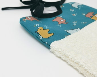 Reusable two-sided bib with soft fabric for sensitive baby skin Ecofriendly and zero-waste present for newborn with dinosaurs