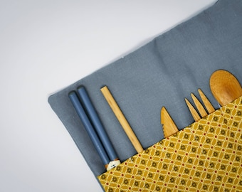 Grey and yellow pouch for bamboo cutlery to enjoy relaxing picnic Ecofriendly and handmade accessory unique and zero-waste oriented