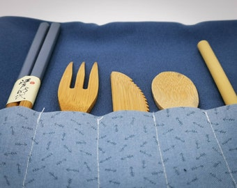 Blue pouch for bamboo cutlery to enjoy relaxing picnic Ecofriendly and handmade accessory unique and zero-waste oriented