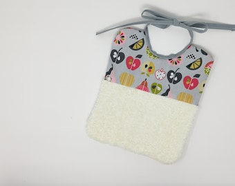 Reusable two-sided bib with soft fabric for sensitive baby skin Ecofriendly and zero-waste present for newborn with fruits and vegetables