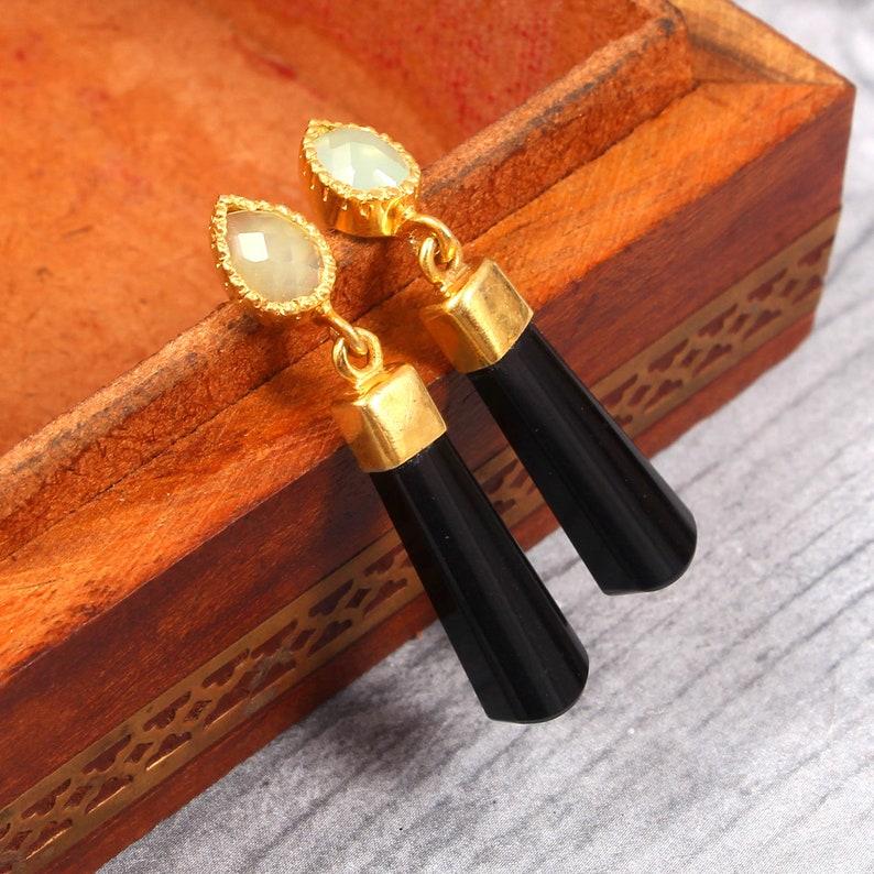 Natural Black Onyx and Chalcedony Studs Earring Gold Vermeil Earring Handmade Jewelry Birthstone Earring Gemstone Earring