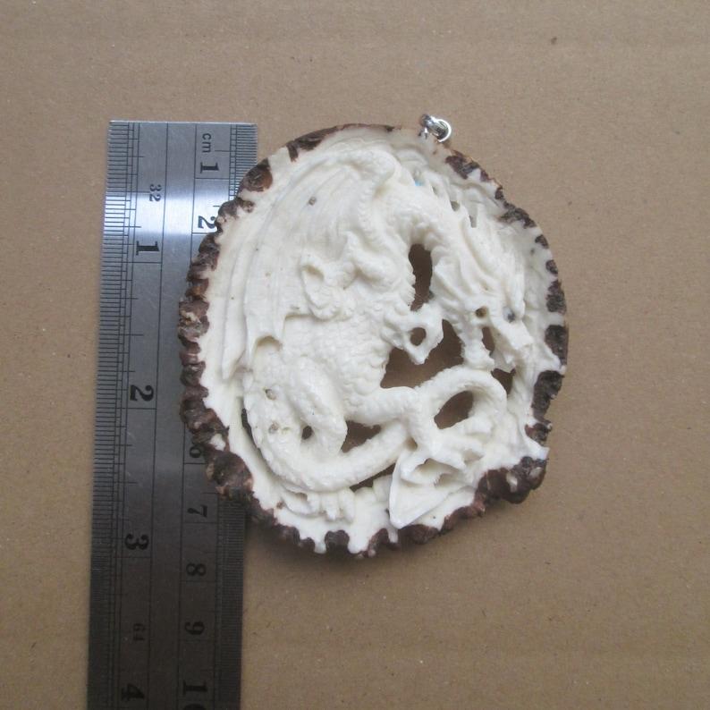 Dragon Carved Antler Pendant Deer Horn Bali Bone Carving with Sterling Silver Bail PD201219