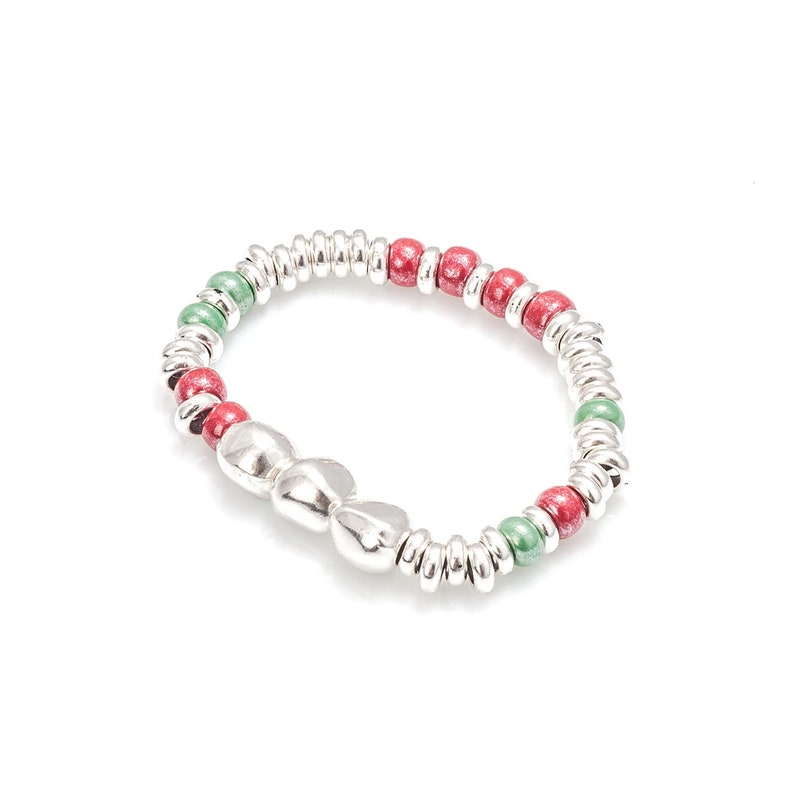 Elastic bracelet made of colored glass beads Bohemian bracelet for woman.