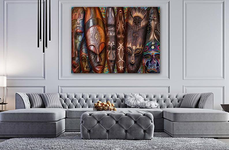 African mask canvas Ethnic masks print Tribal mask wall art Face mask d\u00e9cor Africa artwork Mask decor room Travel wall print Ready to hang