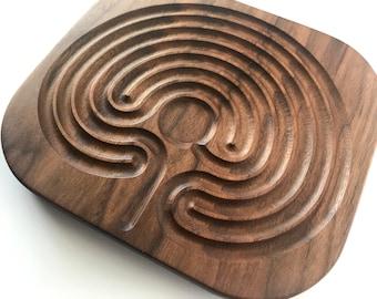 Dark Wood Classical Finger Labyrinth, Wide Grooves, Cretan Hand Labyrinth, Prayer Labyrinth for Meditation      Peace corner
