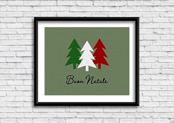 Buon Natale Italia.Buon Natale Printable Sign In Green Merry Christmas Holiday Etsy