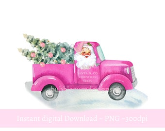Pink Santa Christmas Tree Truck PNG, Christmas Clip Art, Vintage Santa Design , Holiday Sublimation, Instant Digital Download