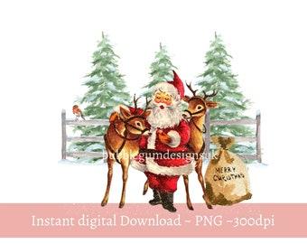 Santa and Reindeers Christmas PNG, Christmas Clip Art, Vintage Santa Design, Holiday Sublimation, Instant Digital Download