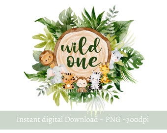Wild One Baby Safari Animals PNG, Watercolor Baby Animals, T Shirt Sublimation Design, Birthday Card image , Instant Digital Download,