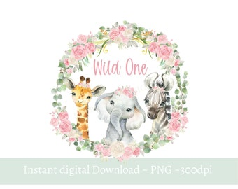 Girls Wild One Baby Safari Animals Wreath PNG, Watercolor Baby Animals,T Shirt Sublimation Design, Birthday Card image, Digital Download,