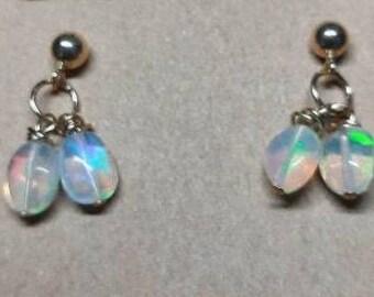 Genuine triple A faceted Ethiopian opal teardrop gem hoop earrings handmade bohemian large hoop earrings