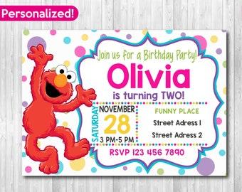 Elmo Invitation Party Sesame Street Invite Invitations Printable Fast Delivery