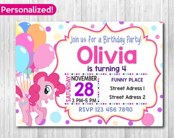My Little Pony Invitation Birthday Party Invite Invitations Printable Invites Fast Delivery