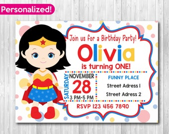 Wonder Woman Invitation Birthday Party Movie Invitations Printable Invites Fast Delivery