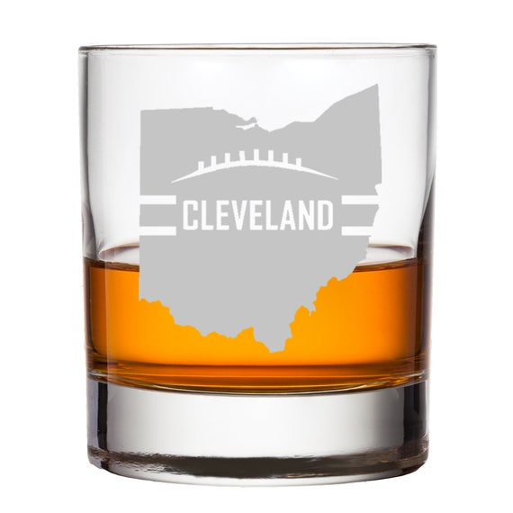 Cleveland Christmas Bourbon.Cleveland Football Whiskey Glass Personalized Custom Engraved Bourbon Scotch Rocks Fan Birthday Gift For Him Husband Son Groom Best