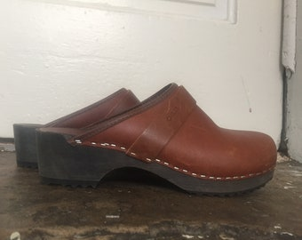 3c24baf2a72 Leather+Wooden Clogs made in Denmark