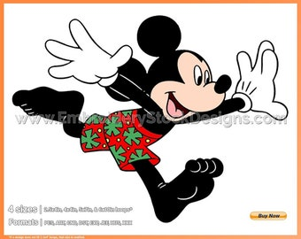 84750a90a5ee8 Mickey Running In Bathing Suit - Summertime - Holiday Disney Character  Designs in 4 sizes Embroidery - DSNYH000614