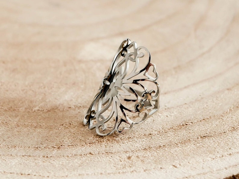 Adjustable Ring Filigree Ring Gift For Her Boho Rings For Women Minimalist Jewelry Silver Sacred Geometry Ring