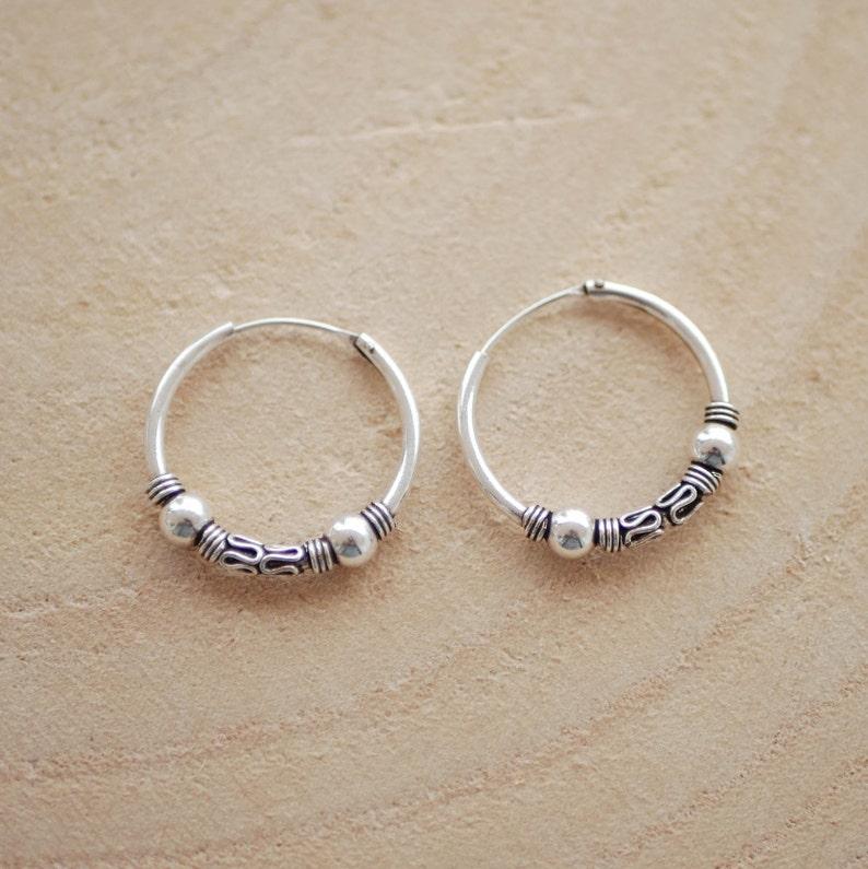 Indian Jewelry 925 Sterling Silver Bali Hoop Earrings Ethnic Tribal Earrings Unisex hoops for men boho earring 25 mm Boho Jewelry
