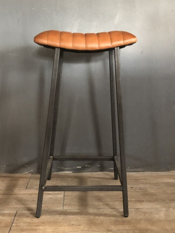Industrial Leather Bar / Kitchen Stool with Curved Seat