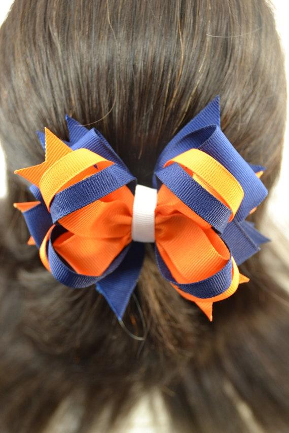 "NEW /""SYRACUSE Orange/"" University Girls Ribbon Hair Bow Rhinestone Clip NCAA"