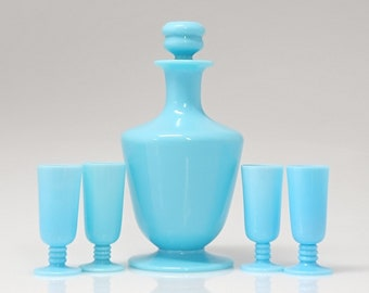 French Portieux Vallerysthal Blue Milk Glass Opaline Decanter Set | Decanter with 4 Cordials