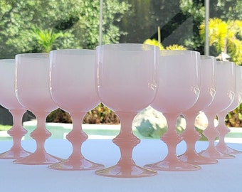 French Portieux Vallerysthal Pink Opaline Water or Wine Goblets | Set of 8