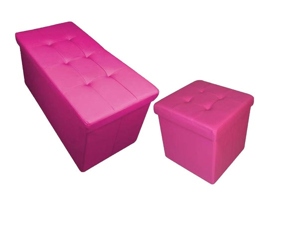 Super New Quilted Top Folding Storage Ottoman Seat Toy Storage Box Faux Leather Pouffe Fuchsia Pink Ocoug Best Dining Table And Chair Ideas Images Ocougorg
