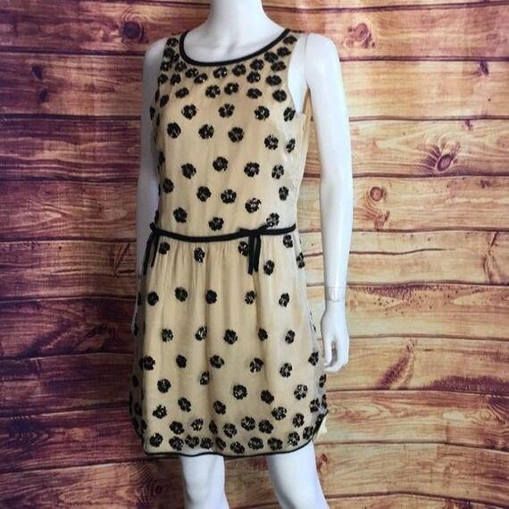 Valentino Vintage Cream Black Beaded Flapper Dress