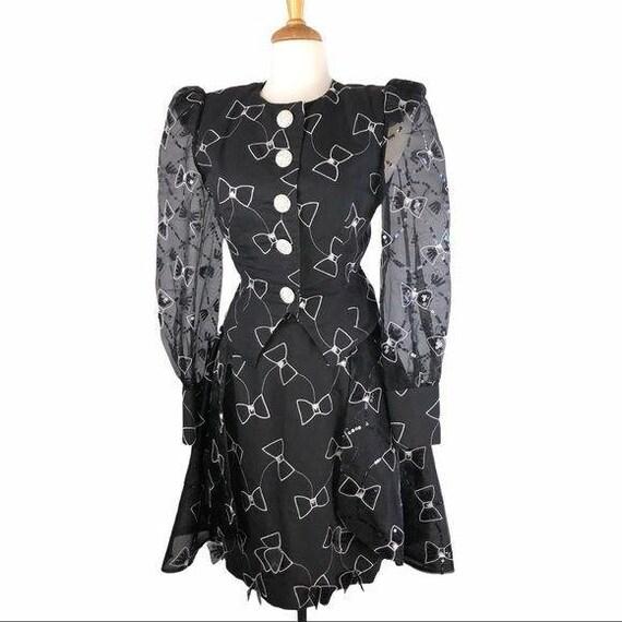 Rare Vintage Black Bow Tie Skirt & Jacket Set