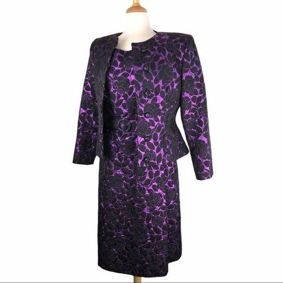 Vintage Scaasi Purple Brocade Dress & Jacket Set