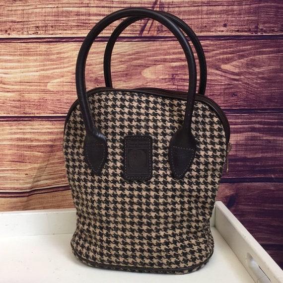 Vintage Scottish Brown Houndstooth Top Handle Bag