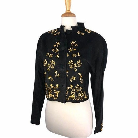 Vintage Pia Rucci Suede & Gold Embroidered Jacket