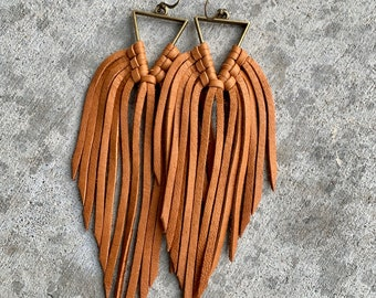 Yellowstone collection triangle fringe earrings, deerskin leather fringe, boho, western, Beth Dutton, multi color listing, leather fringe