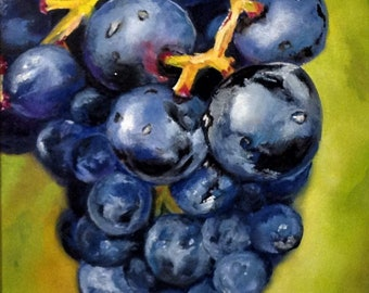 Purple Dew on Concord Grapes.     Original oil painting of Concord Grapes