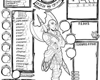 image relating to 5e Character Sheet Printable identify Identity sheet Etsy