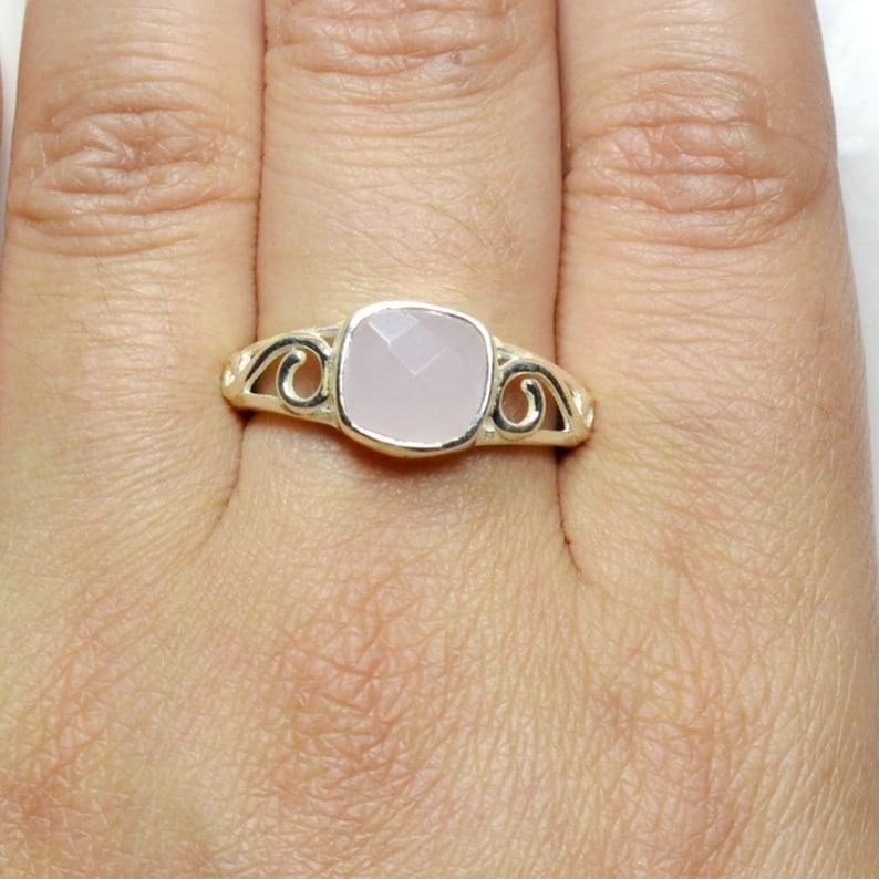 Pink Cushion Shape Gemstone Ring Natural Rose Quartz  Sterling Silver Ring Genuine Rose Quartz Ring For Gift Silver Handmade Jewelry