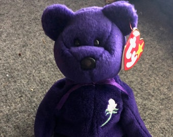 c1f085dc033 Ty Prnicess Diana rare 1st editison beanie baby. 1997 no space swing tag.  homemade in chine. pvc pellet tush tag.
