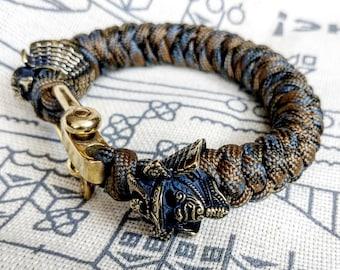 "Custom bracelet ""SAMURAI"", made of paracord and original brass beads ""Samurai helmet"".  A great gift for everyone who likes Celtic knots."