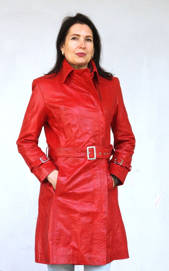 Vintage Red Leather women zipper coat,   Sexy Leat