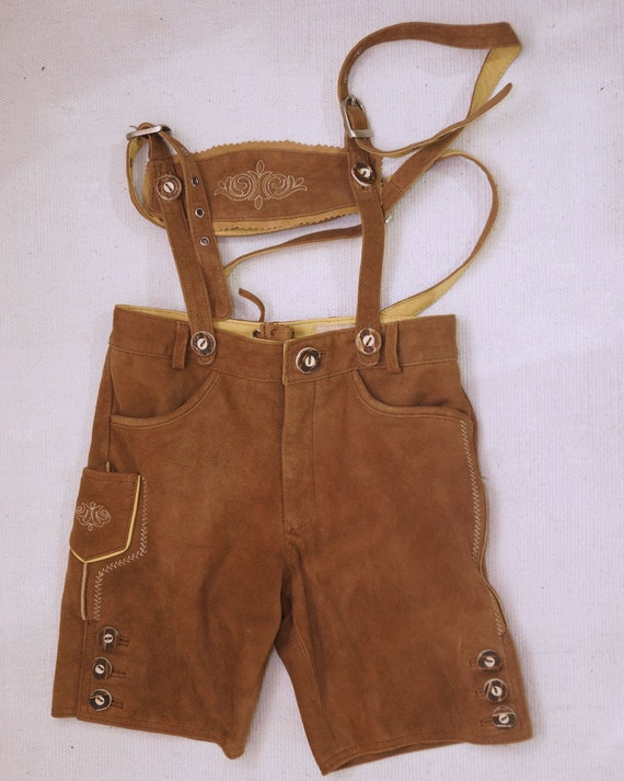 Vintage  child Brown Suede Leather Genuine Shorts