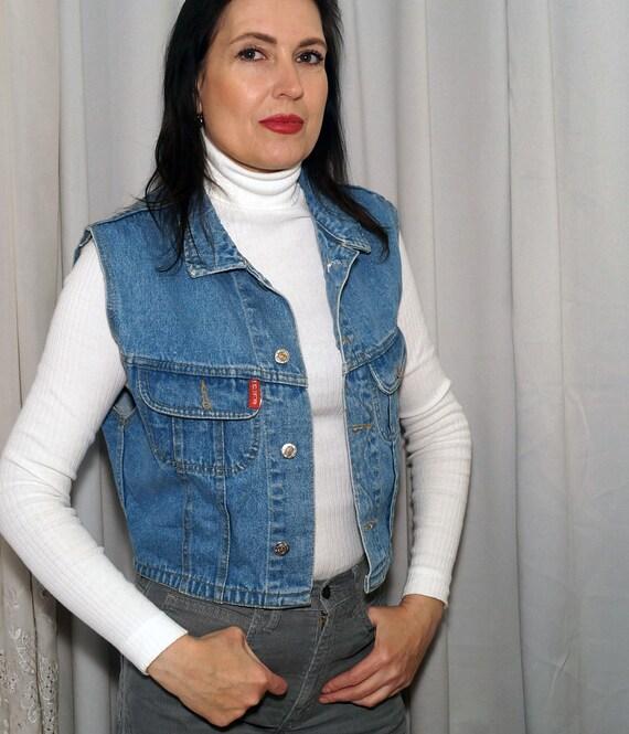 Vintage Jeans Vest,Oversized Jeans Vest, Vintage J