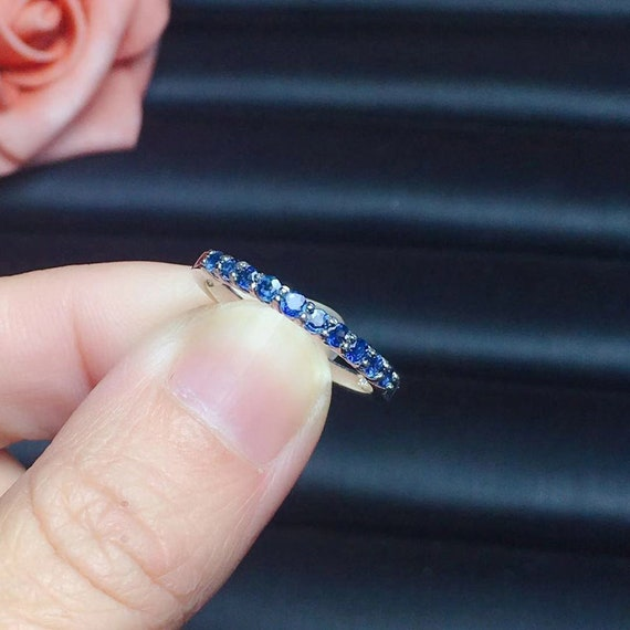 Natural Blue Sapphire Ring, September Birthstone, White Gold Plated Sterling Silver Rings for Women, Engagement Cocktail Wedding Ring