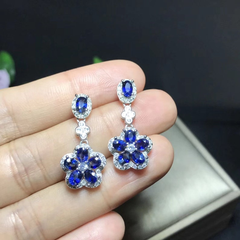 Natural Blue Sapphire Earrings Engagement Wedding Jewelry Art Deco Aesthetic Sterling Silver Earrings For Women September Birthstone