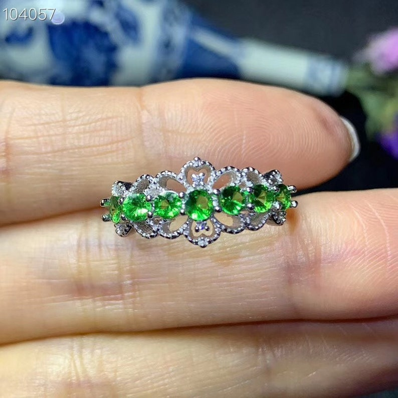Natural Green Tsavorite Ring Stackable Rings White Gold Plated Sterling Silver Rings Handmade Aesthetic Engagement Wedding Ring